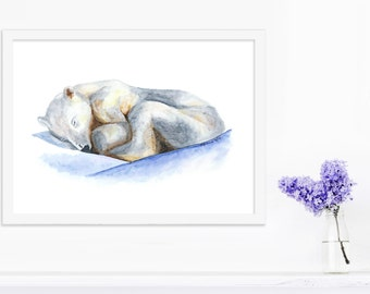 Arctic Animal Watercolor, Polar Bear Art, Bear Cub, Animal Art, Polar Bear Watercolor, Baby Polar Bear, Endangered, Print, Ice, Blue - 11x14