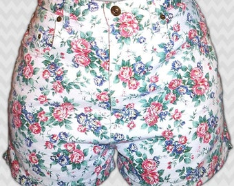 Jeans by Express Floral White Red Blue Green Denim Jean Shorts