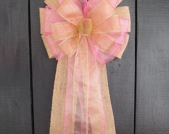 Gold Sheer Rustic Burlap Bow, Many Colors Available, Organza Wedding Pew Bow, Church Aisle Chair Decorations, Bridal Baby Shower, Custom Bow