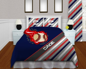 Baseball Bedding For Boys Themed Comforter Set Navy Blue Red And