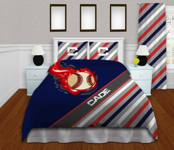 Baseball Bedding For Boys Themed Comforter Set Navy