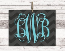 Chevron teen room decor - teen room ideas - teen girl room ideas - monogrammed gifts - monogram wall art canvas or print - chevron