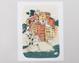 Riomaggiore, Italy - Cinque Terre Art Print - 8.5x11