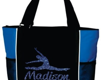 DANCE TOTE with Dancer's Name. Dance Bag. Gymnastics Tote. Gymnastics Bag. Dancer Tote. Dancing Tote. Sports Tote. Cheer Tote. Dancer Bag.
