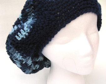 blue crochet tam, blue slouchy, blue beret, variegated blue, chevron hat