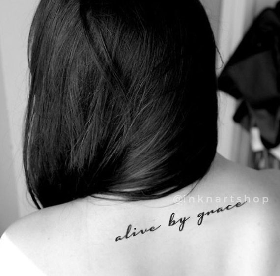 Alive by grace quote temporary tattoo inknart by inknart for Fake neck tattoo