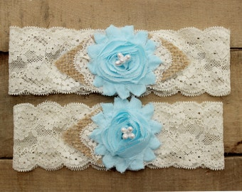 Something Blue Wedding Garter - Burlap and Lace Garter Set w/ Pearls, Rustic Country Western Garter, Burlap wedding garder belt