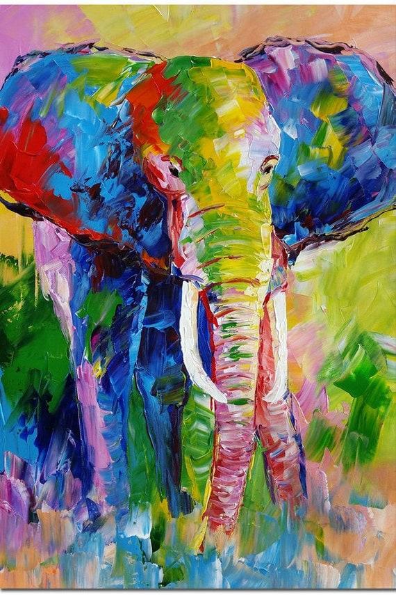 Colorful Elephant Art by Palette Knife by FolkcultureGallery