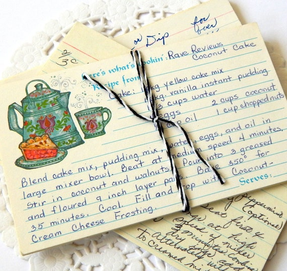 vintage recipe cards  handwritten recipes  3x5 recipe cards