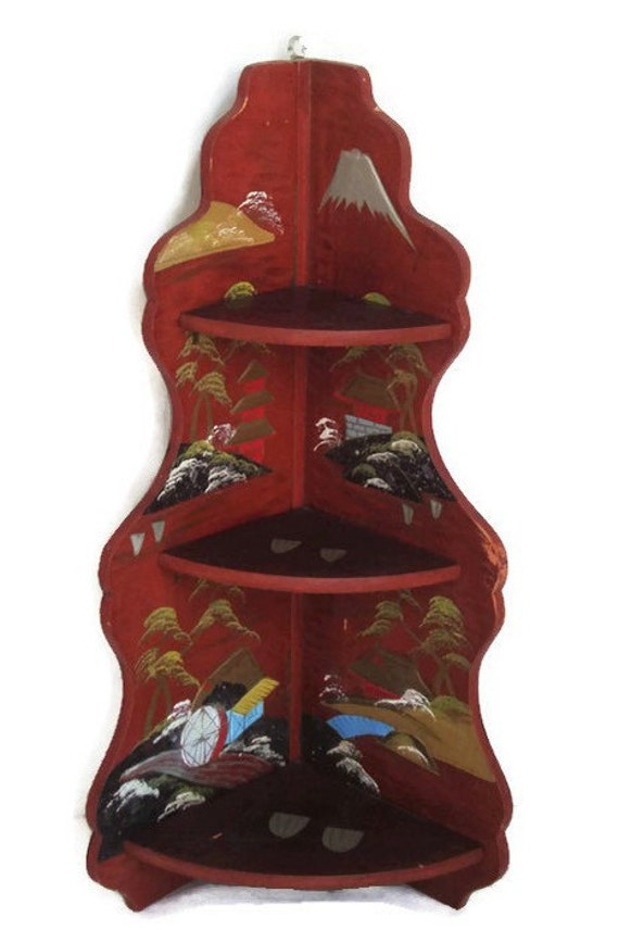 Red Corner Shelf Tiered Japanese Lacquer Folding Shelf