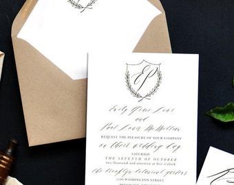 Romantic Crest Custom Wedding Invitations Sample