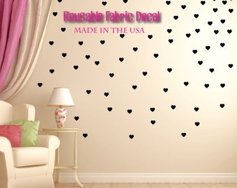 Baby Nursery Wall Decal Valentines Hearts Wall Decor Black Nursery Baby Girl Decor. Hearts Children Wall Decal (MINI Hearts All Black)
