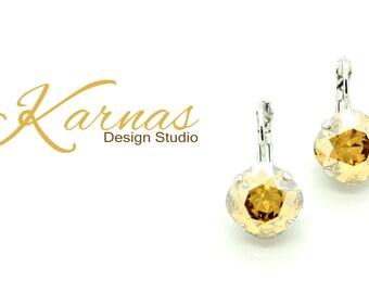 CRYSTAL GOLDEN SHADOW 12mm Crystal Cushion Cut Earrings Swarovski Elements *Pick Your Finish *Karnas Design Studio *Free Shipping*