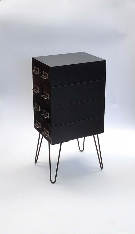 hairpin leg metal nightstand end table black industrial