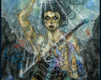 """78 Tarot Nautical """"Ace of Wands"""" -- ACEO Print"""