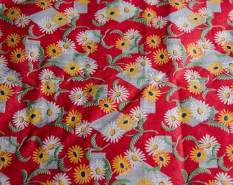 "Vintage Fabric 1920s Deco BTY 35"" Wide Floral- Red Yellow White Cotton -B5"
