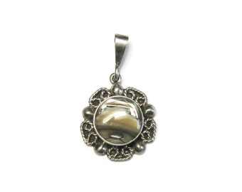 Vintage Mexican Sterling Abalone Flower Pendant