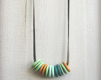 Fimo necklace long leather necklace polymer clay jewelry minimalist necklace simple stacked necklace round beads disc beads necklace sculpey