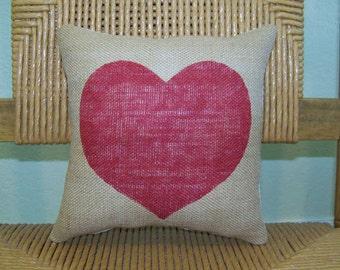 Heart pillow, Valentine gift, Red Heart pillow, Burlap pillow, Love pillow, stenciled pillow, FREE SHIPPING!