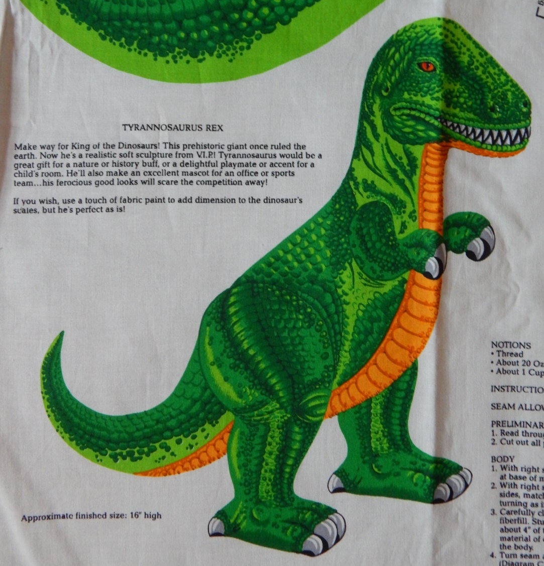 Dinosaur fabric panel 16 inch tyrannosaurus rex sew and stuff for Dinosaur fabric