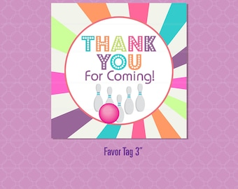 Instant Download Bowling Party Favor Tag - Girls Glow Birthday Invitation - Bowl Pins Lane printable - Alley Birthday Party