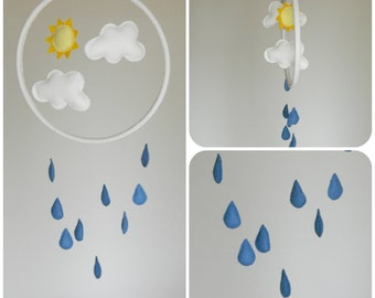 Rain Cloud mobile - turquoise blue and white - Felt sun clouds rain,  nursery decor- raindrops mobile-modern baby mobile-nursery hoop art