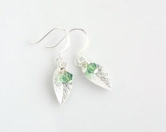 Swarovski crystal dangle earrings, silver leaf drop earrings, silver earrings, crystal earrings, unique jewelry, women's jewelry, for her