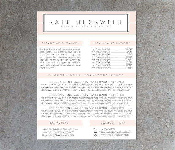 Buy 1 Get 1 FREE RESUME TEMPLATE Two Page Resume Cover