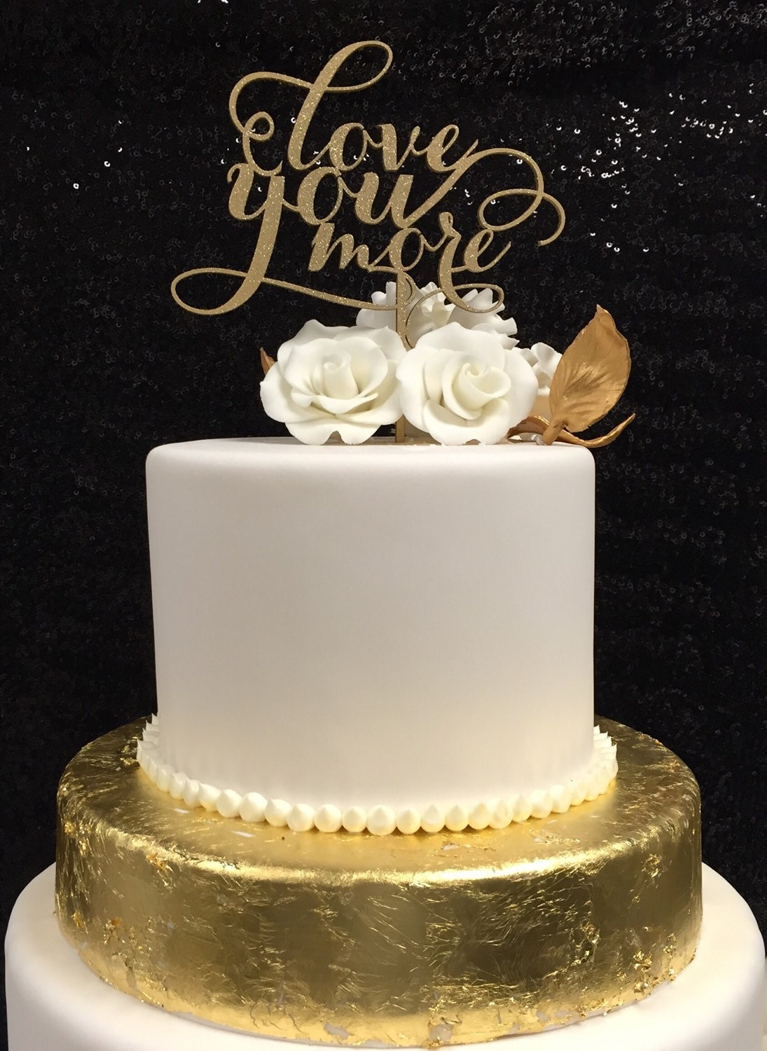 Love You More Cake Topper Wedding Cake Topper Gold Cake