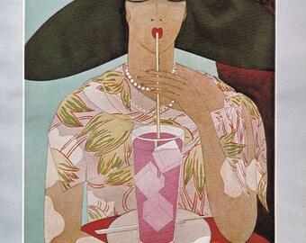 Vogue Magazine Cover 1926 Woman drinking lemonade art deco art nouveau home decor print fine art