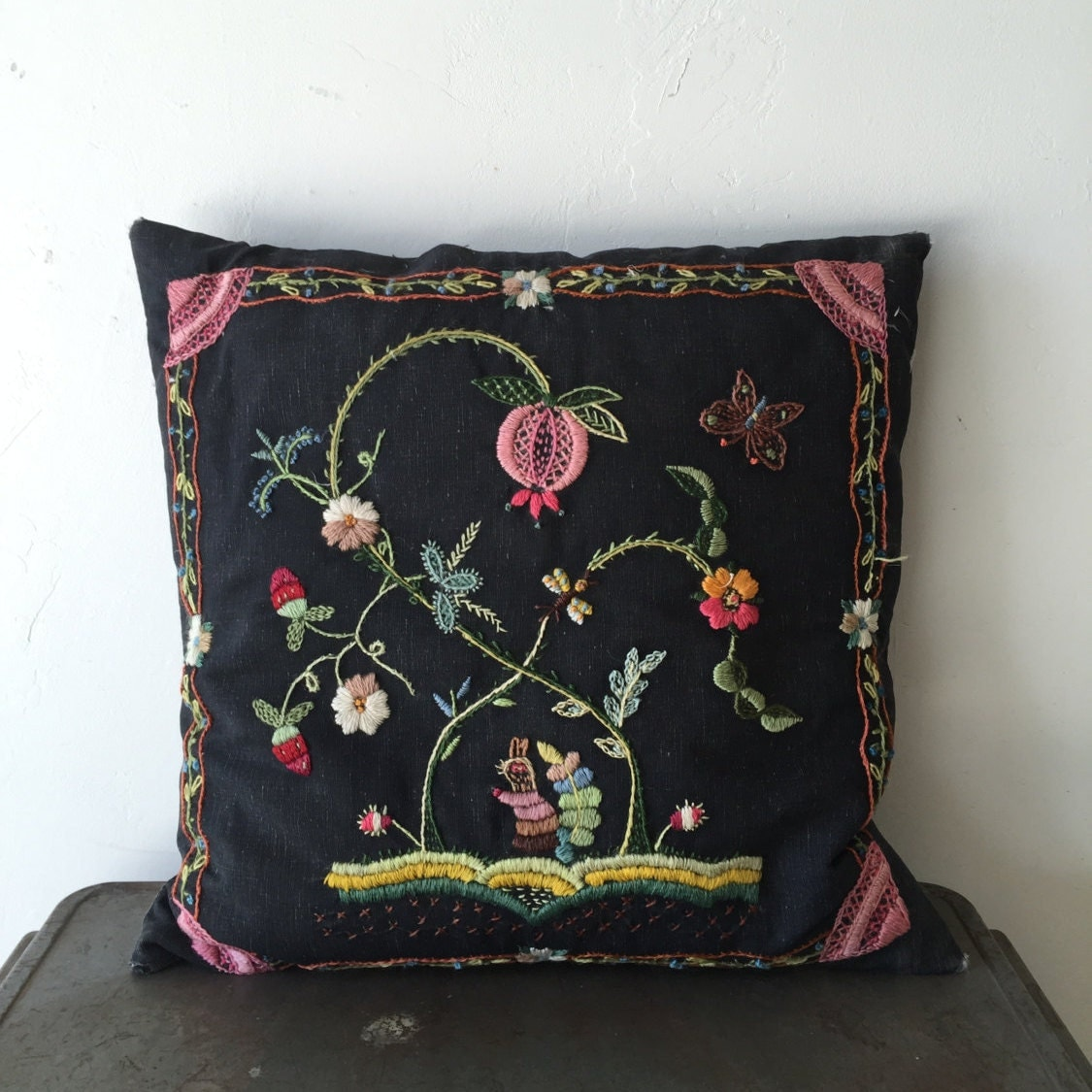 Vintage Embroidered Throw Pillow Black Pink Green with
