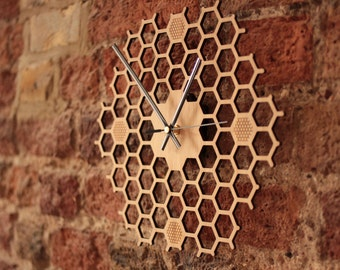 Honeycomb Inspired Wooden Wall Clock With Non Ticking, Silent Sweep, Unique and Minimalist Clock - Bamboo Kitchen Wall Decor