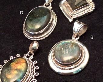 Labradorite Pendant. Sterling Silver. Diamond, Oval or Round. free US ship