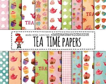 """Tea digital paper """"TEA TIME"""" with tea clip art, tea cups, mugs, honey, cup cake patterns, etc (1146)"""