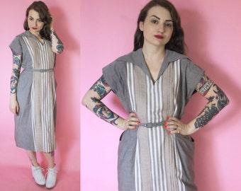 1940s Dress / 40s Day Dress / Vertical Striped Cotton Dress w/ Pockets / Rockabilly / Pinup / Grey