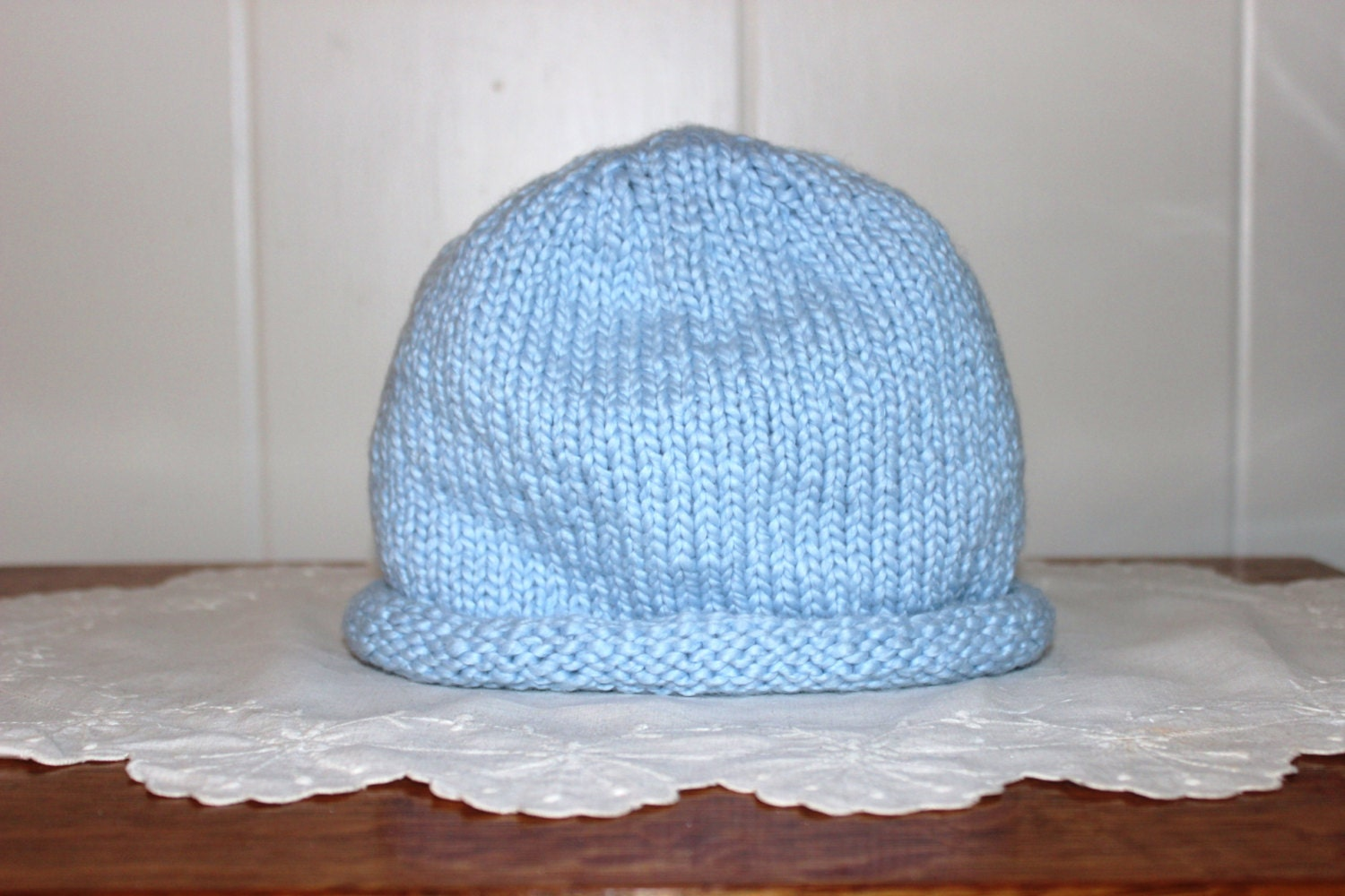1c29fe5c129 Size 6 - 9 Months Organic Cotton Hand Knit Baby Blue Hat