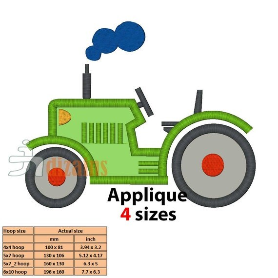 Tractor embroidery design applique instant by jldizains