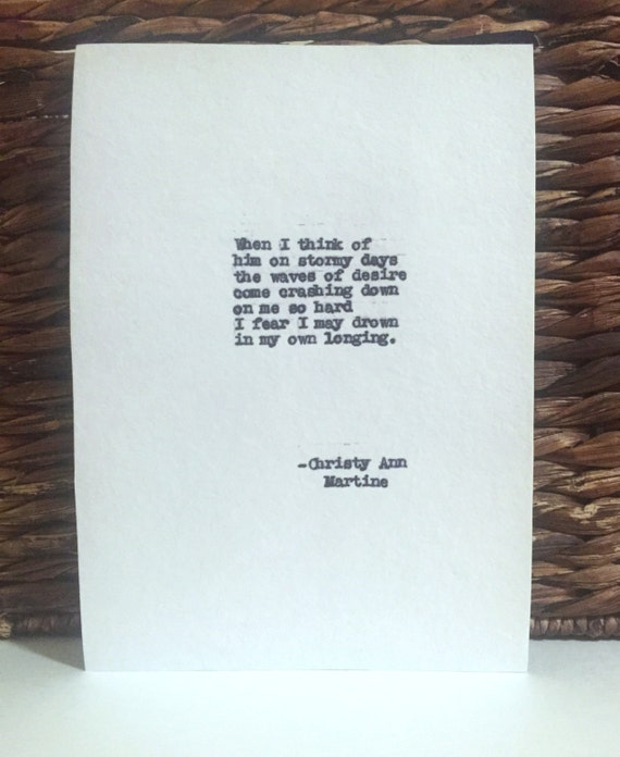 Love Poem - When I Think of Him - Typewriter Poems - Romantic Poetry Art - Christy Ann Martine