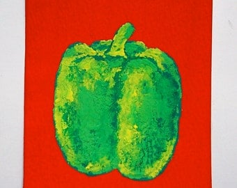 """The Green Pepper #79 (artist trading card) 2.5"""" x 3.5"""" by Mike Kraus"""