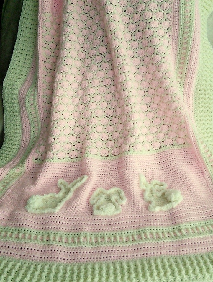 Marshmallow Crochet Baby Blanket Pattern : Digital Pattern Marshmallow Bunnies Crochet Baby Afghan.