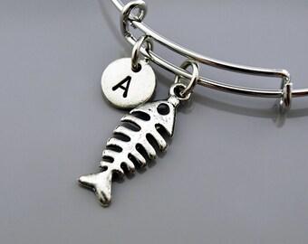 Fishbones Bangle, Fishbones bracelet, Fish bones charm, Expandable bangle, Personalized bracelet, Charm bangle, Monogram, Initial bracelet