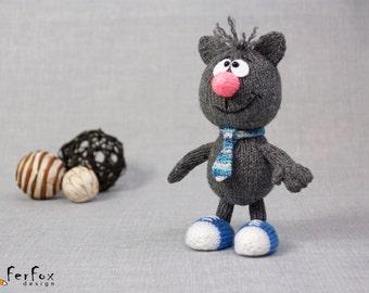 Stuffed cat, plush cat, cute cat, hand knit animal, funny cat, softie cat - Tony the Grey Cat