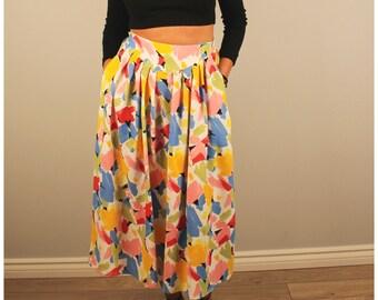 Vintage midi skirt bright multi colored print watermark long skirt 1980 80s small medium circle skirt