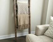 Rustic wood blanket ladder || rustic ladder decor || industrial chic decor