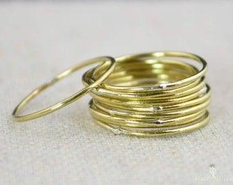 Thin Round Brass Stacking Ring(s), Gold Brass Ring, Brass Stacking Ring, Brass Jewelry, Brass Ring, Dainty Brass Ring, Brass boho Ring, gold
