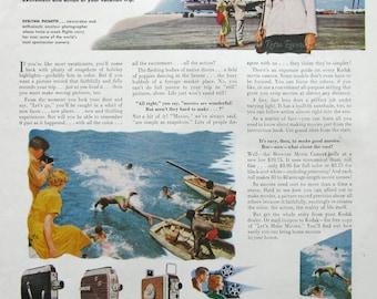 1953 Cine Kodak Royal Magazine Camera Ad - Movie Cameras Are Really Flying High - 1950s Stewardess Airline Attendant