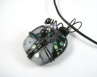 Grey Green & Black Wire Wrapped Dichroic Glass Pendant Necklace, Black genuine leather cord, black wire wrap jewelry