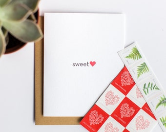 Love Letterpress Card. Sweet Heart Letterpress Card
