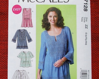 McCall's Sewing Pattern M7128 Tunic, Pullover Blouse, Bell Sleeves, Inset Panel, Sleeveless Top, Size L XL XXL, Boho Chic Fashion Gift UNCUT