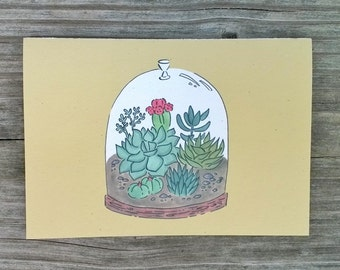 Color Note Card Set, Illustrated Note Cards, Plant Stationery, Hand Drawn Stationery
